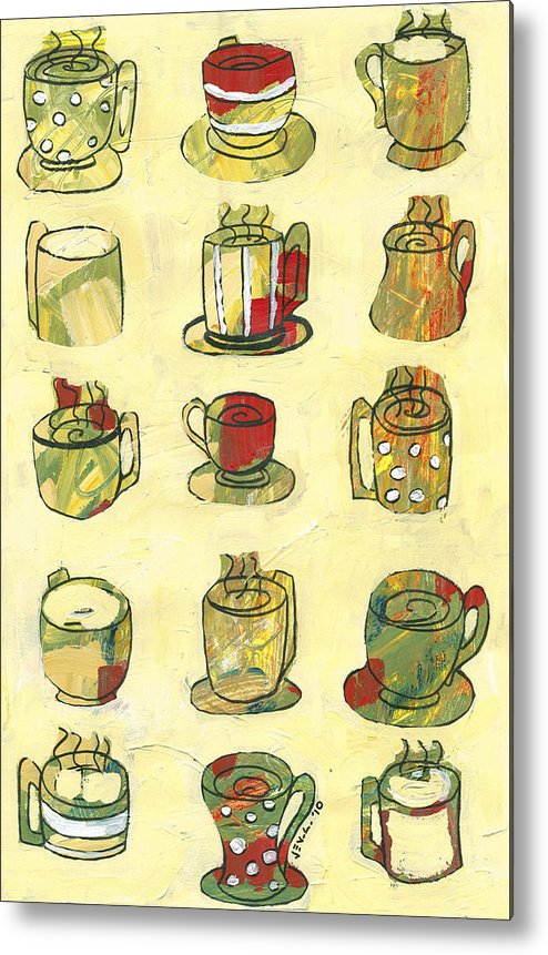 Art Deco Metal Print featuring the painting Coffee For Fifteen by Jennifer Lommers