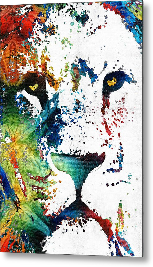 Lions Metal Print featuring the painting Colorful Lion Art By Sharon Cummings by Sharon Cummings