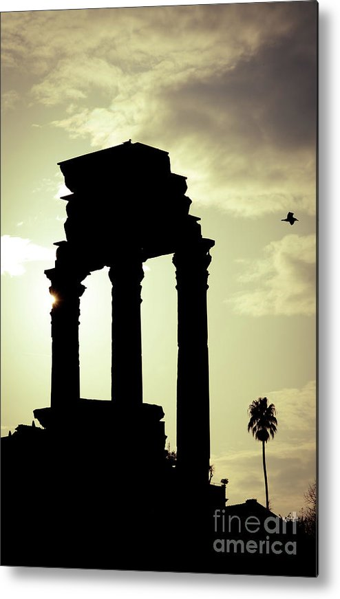 Roma Metal Print featuring the photograph Column Sunset Temple Of Castor And Pollux In The Forum Rome Italy by Andy Smy