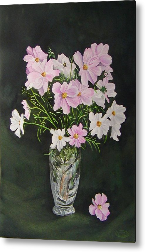 Floral Metal Print featuring the painting Cosmos And Crystal by Sharon Steinhaus