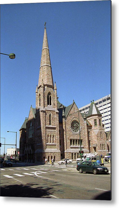 16th Metal Print featuring the photograph Denver Downtown Church by Frank Romeo
