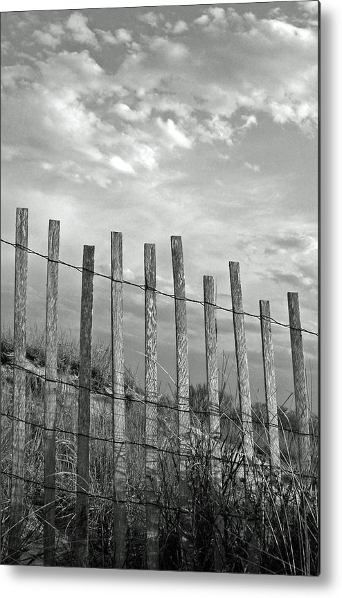Vertical Metal Print featuring the photograph Fence At Jones Beach State Park. New York by Gary Koutsoubis
