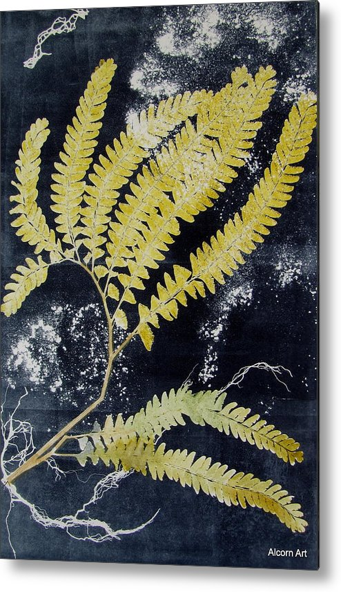 Fern Metal Print featuring the painting Fern Monoprint by Brenda Alcorn