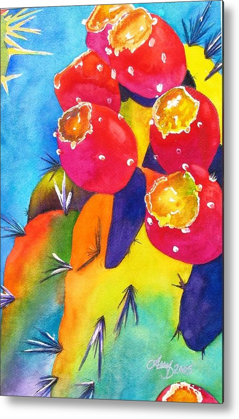 Cactus Metal Print featuring the painting Fiesta De Fruta by Arry Murphey