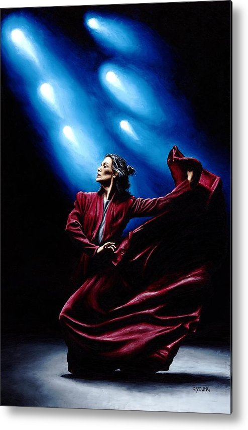 Original Oil Painting Produced On Stretched 91cm X 61cm Canvas Using A Knife Metal Print featuring the painting Flamenco Performance by Richard Young