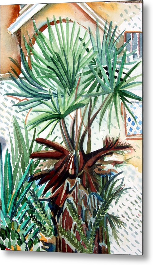 Palm Metal Print featuring the painting Florida Palm by Mindy Newman