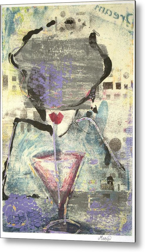 Cafe Metal Print featuring the painting Girl With Drink by Maryn Crawford