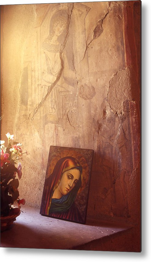 Art Metal Print featuring the painting Greece. Lesvos. 16th Century Fresco And Virgin Mary Icon by Steve Outram