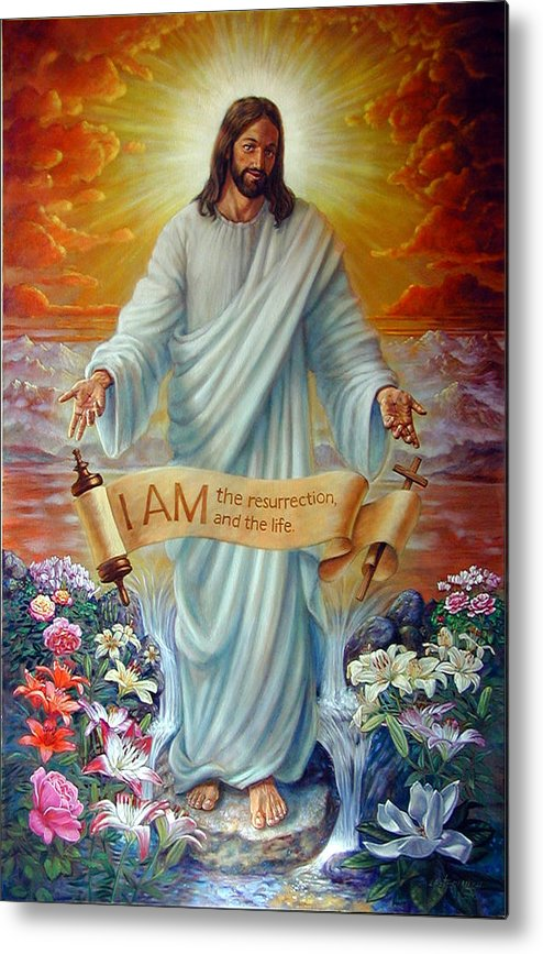 Jesus Christ Metal Print featuring the painting I Am The Resurrection by John Lautermilch