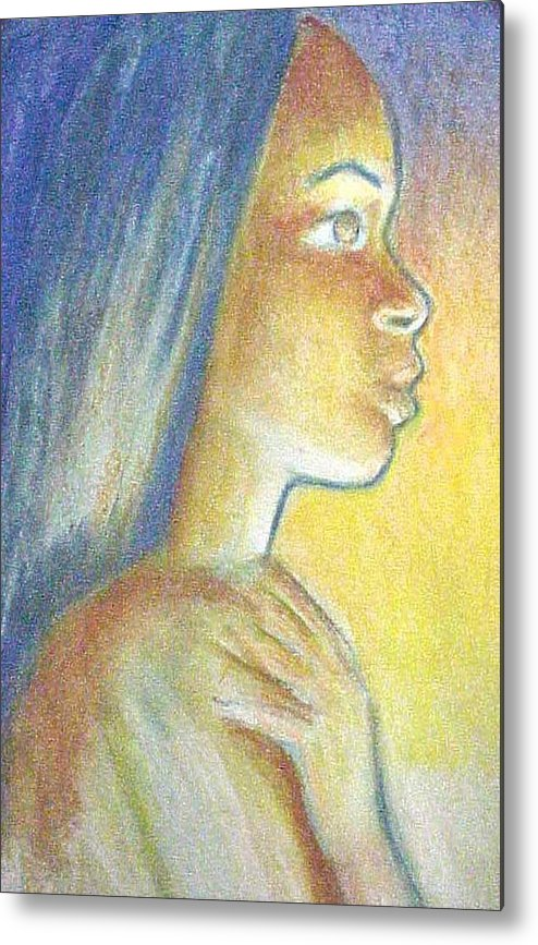 Metal Print featuring the drawing In The Glow by Jan Gilmore