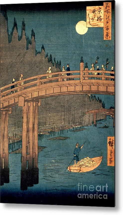Kyoto Metal Print featuring the painting Kyoto Bridge By Moonlight by Hiroshige