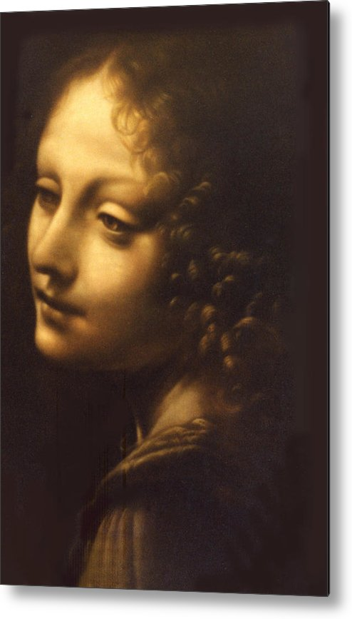 Angel Metal Print featuring the painting Leonardo- Angel From The Madonna Of The Rocks by Paul Herman