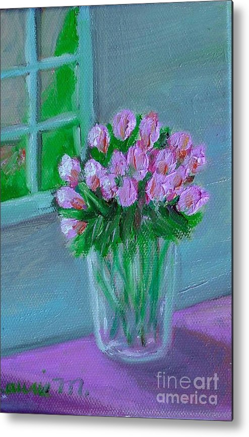 Rose Metal Print featuring the painting Leslie's Roses by Laurie Morgan