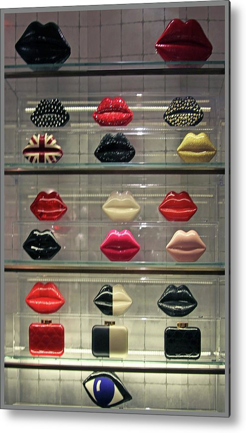 Hand Bags Metal Print featuring the photograph Lips by Guy Ciarcia