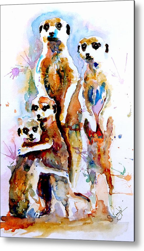 Meerkat Metal Print featuring the painting Meet The Family by Steven Ponsford