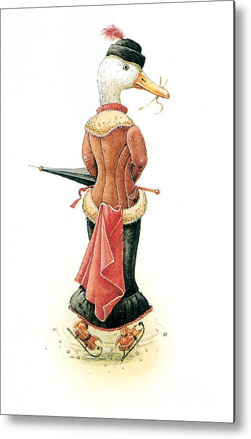 Duck Ice Skating Winter Christmas Greeting Cards Metal Print featuring the painting Miss Duck by Kestutis Kasparavicius