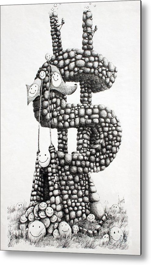 Money Fine Art Print Metal Print featuring the drawing Money Monument by James Williamson