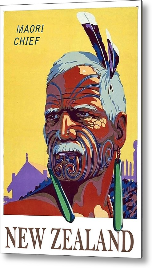 New Zealand Metal Print featuring the painting New Zealand, Maori Chief by Long Shot