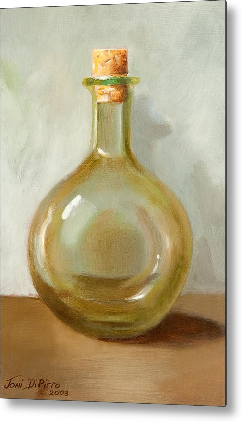 Olive Oil Metal Print featuring the painting Olive Oil Bottle Still Life by Joni Dipirro