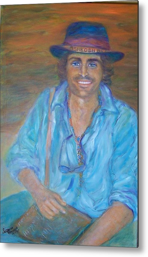 Portrait Of A Gypsy Against A Santa Fe Sky Metal Print featuring the painting Oshkosh By Gosh by Suzanne Reynolds
