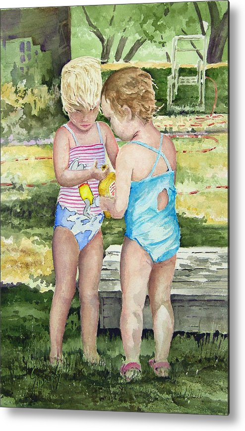 Children Metal Print featuring the painting Pals Share by Sam Sidders