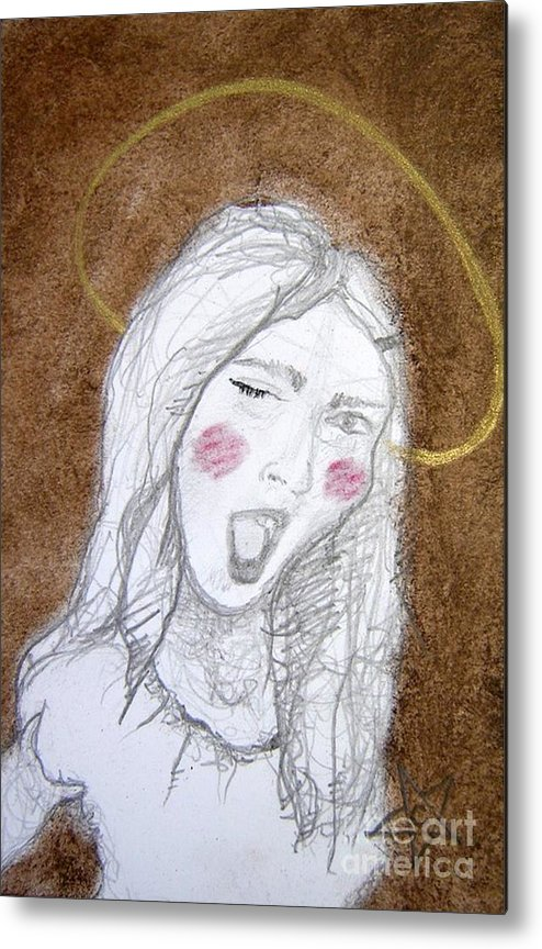 Angel Metal Print featuring the drawing Pandora Opened The Box - ...wink...wink by Chrissa Arazny- Nordquist