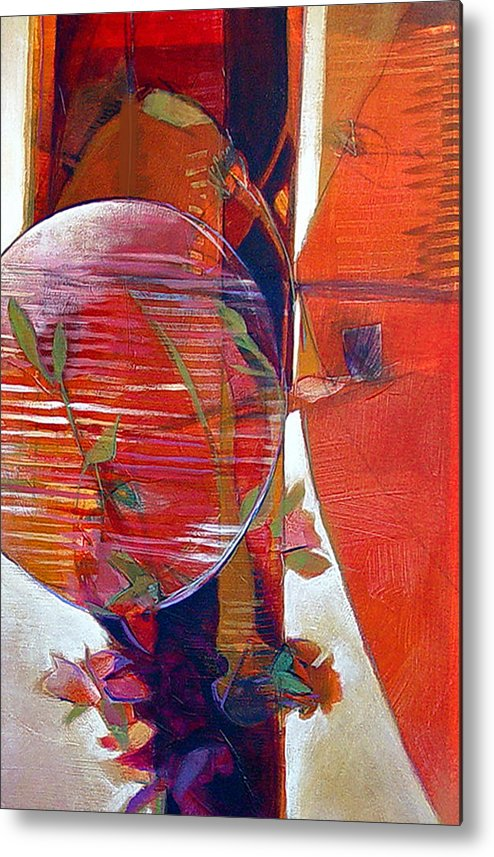 Abstract Metal Print featuring the painting Paper Lantern by Dale Witherow