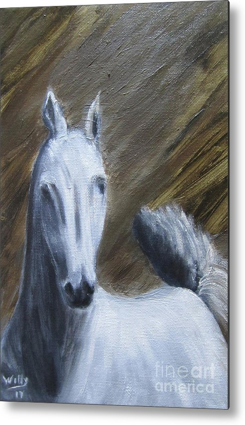 Horse Metal Print featuring the painting Prince Shadow by Willy Elgharb
