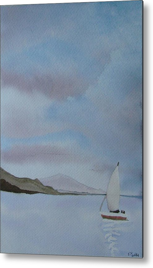 Sailboat Metal Print featuring the painting Sailing by Liz Vernand