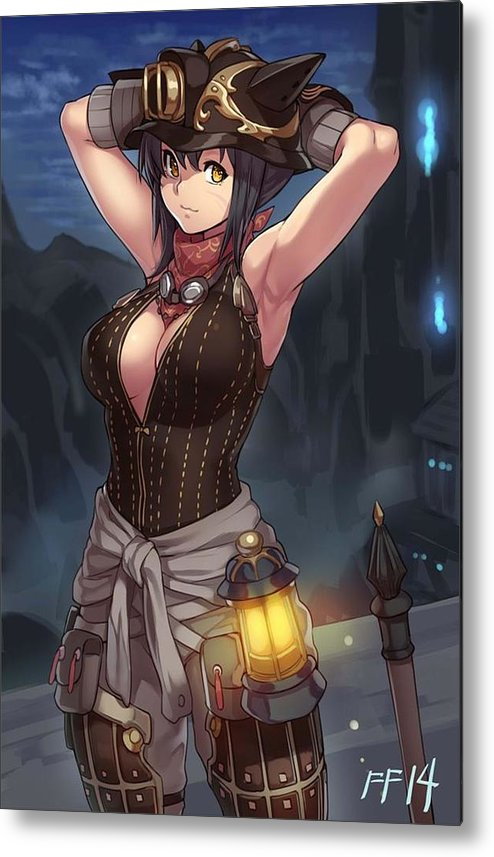Girl Metal Print Featuring The Digital Art Sexy Cat Girl Fantasy By Maax