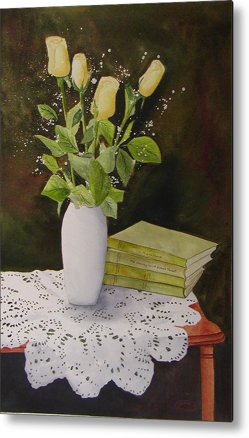 Watercolour Metal Print featuring the painting Shaw And Yellow Roses by Sharon Steinhaus