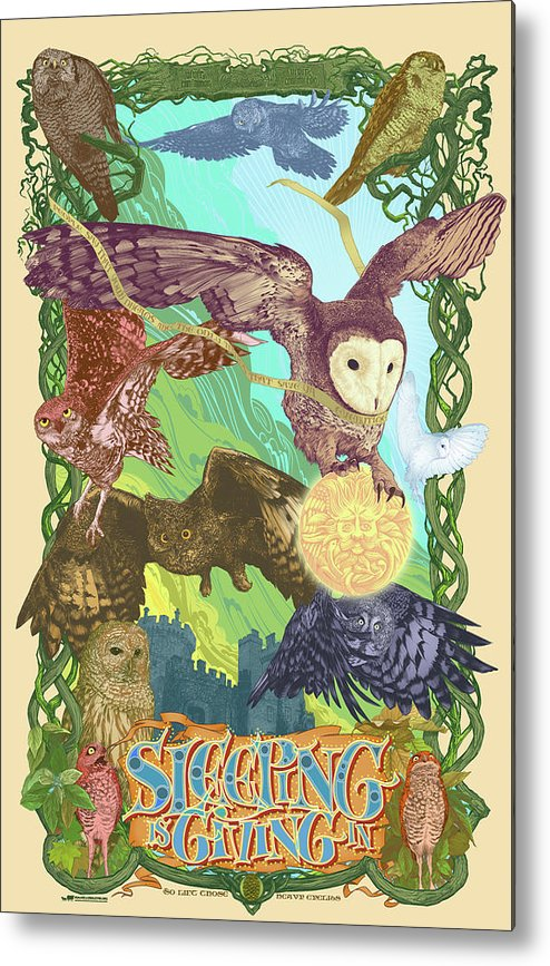 Owls Metal Print featuring the digital art Sleepin Is Giving In by Nelson Dedos Garcia