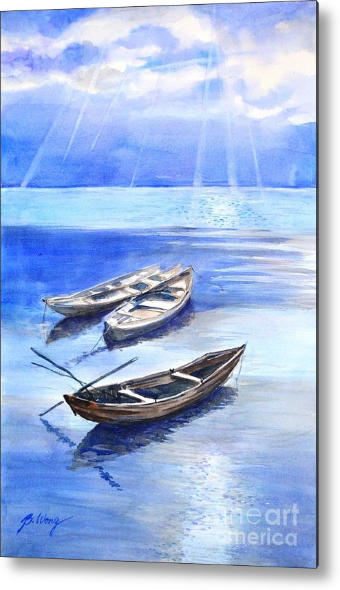 Boats Metal Print featuring the painting Stillness by Betty M M Wong