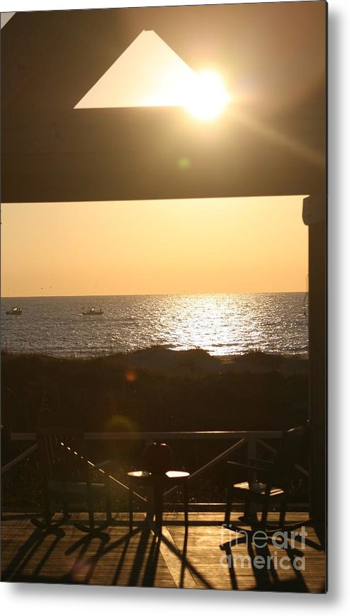 Sunrise Metal Print featuring the photograph Sunrise Through The Pavilion by Nadine Rippelmeyer