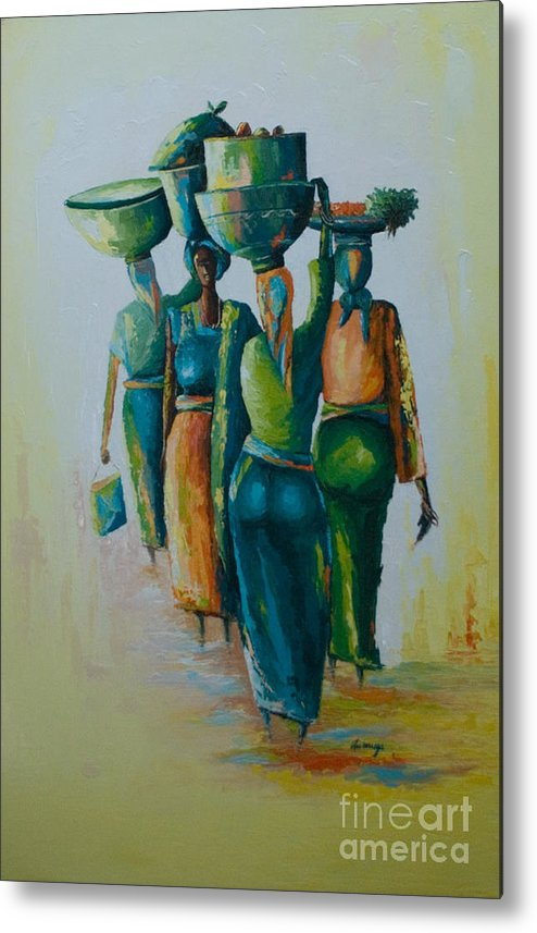Metal Print featuring the painting the Arrival by Alfred Awonuga