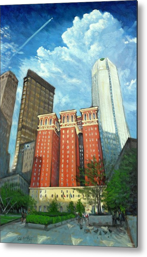 Cityscape Metal Print featuring the painting The Omni William Penn Hotel by Erik Schutzman