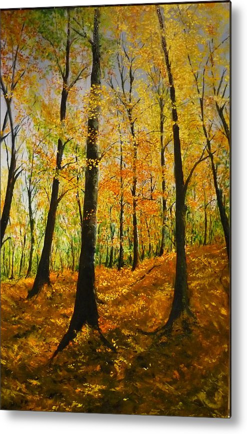 Fall Metal Print featuring the painting The Wood For The Trees by Lizzy Forrester