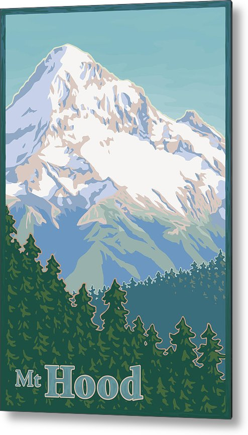 Mount Metal Print featuring the digital art Vintage Mount Hood Travel Poster by Mitch Frey