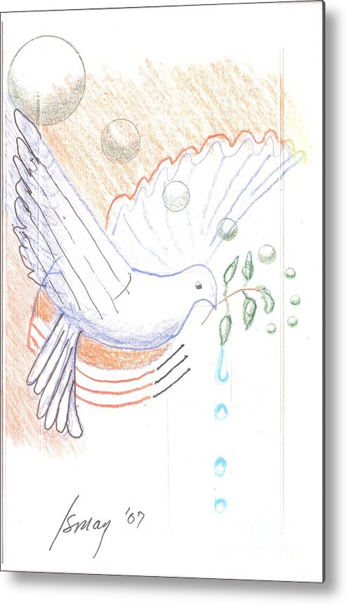 Orbs Metal Print featuring the drawing Wage Peace by Rod Ismay