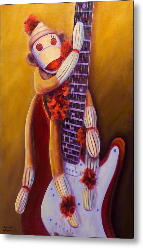 Monkey Metal Print featuring the painting Wanna Be A Rocker by Shannon Grissom