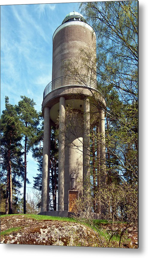 Water Metal Print featuring the photograph Water Tower In Malmi Cemetery by Jarmo Honkanen
