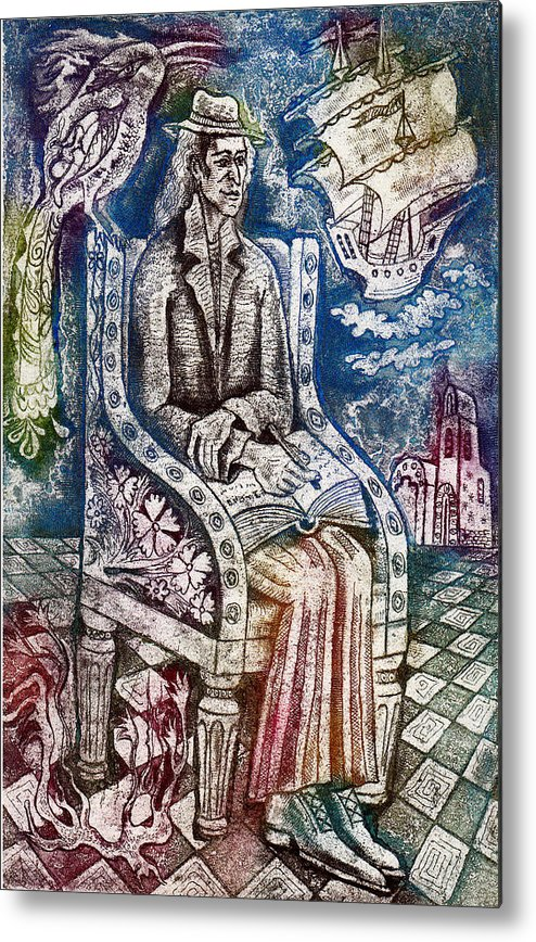 Writer Metal Print featuring the drawing Writer by Milen Litchkov