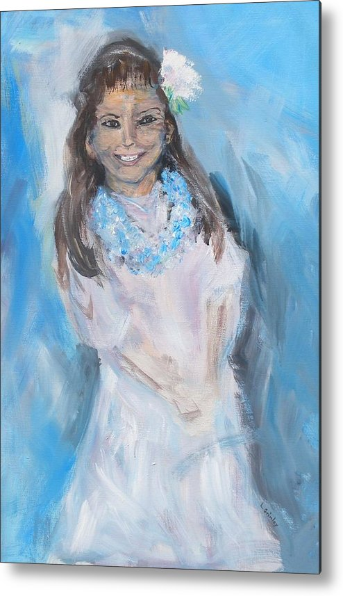 Young Girl Metal Print featuring the painting Young Girl by Lessandra Grimley