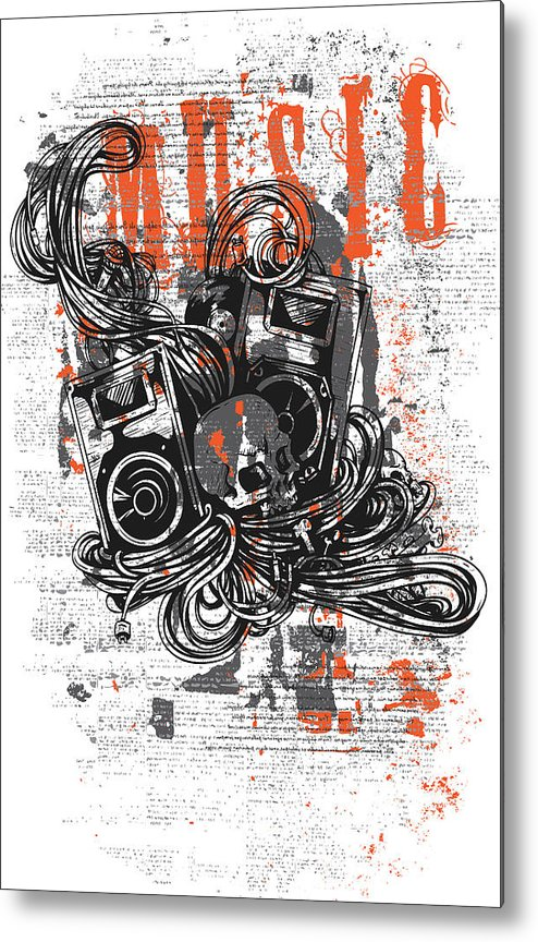 Skull Metal Print featuring the digital art Music by Passion Loft