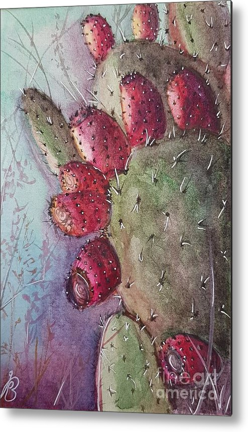 Purple Metal Print featuring the painting Purple Pricky Pear Cactus by Paola Baroni