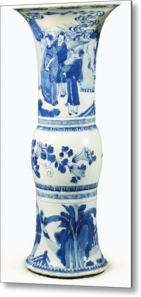 Blue Chinese Chinoiserie Pottery Vase No 3blue & White Chinese Porcelain Around The World Metal Print featuring the painting Blue Chinese Chinoiserie Pottery Vase No 3 by Celestial Images