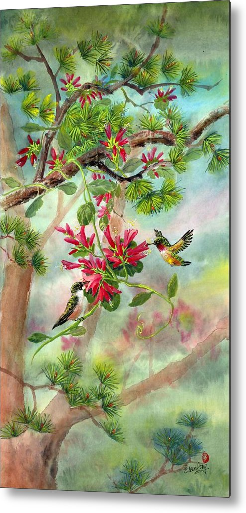 Hummingbirds Metal Print featuring the painting Sweet Journey by Eileen Fong
