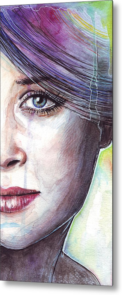 Watercolor Painting Metal Print featuring the painting Prismatic Visions by Olga Shvartsur