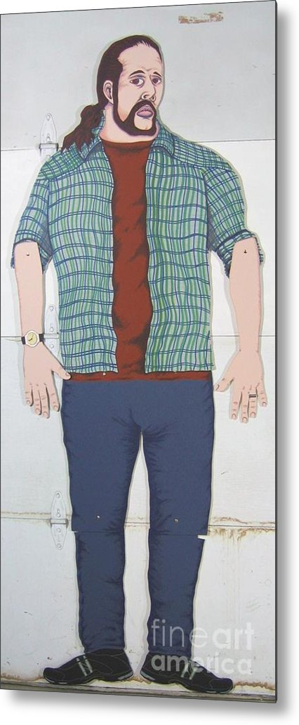 Self Portrait Metal Print featuring the mixed media Self Portrait In Full Scale by Mack Galixtar