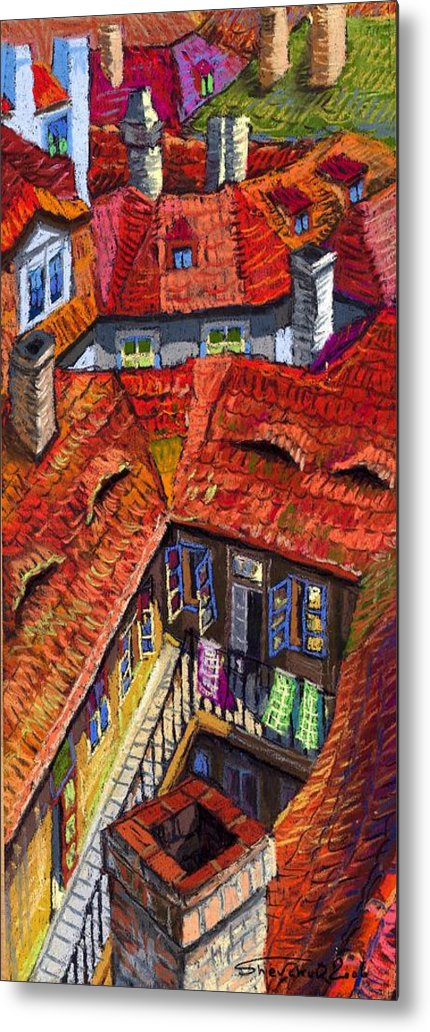 Pastel Metal Print featuring the painting Prague Roofs 01 by Yuriy Shevchuk